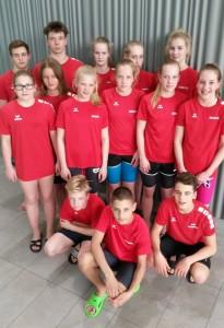 Auf dem Foto in der vordersten Reihe kniet der erfolgreichste Schweriner Schwimmer Hanno Böckmann (12 Jahre).